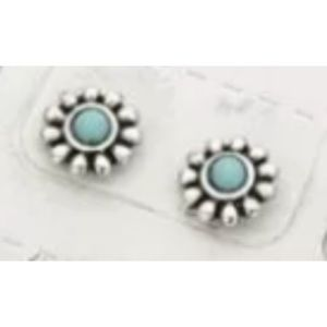 Turquoise Floral Stud Earrings